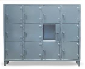 TRIPLE-TIER INDUSTRIAL LOCKERS WITH MULTIPLE COMPARTMENT